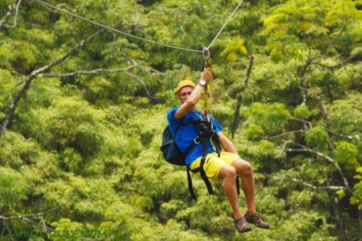 Guy Ziplining on Oahu