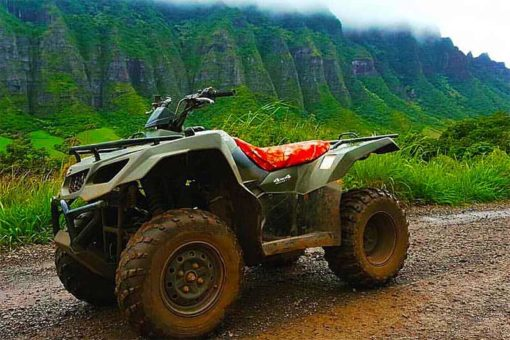 Parked ATV at Kualoa Ranch