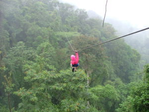 Zipline over rainforest canopy, Costa Rica