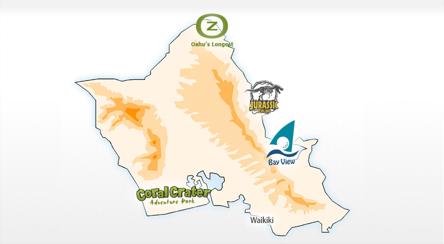 Map of Oahu Ziplines